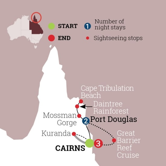 6 days port douglas and reef map
