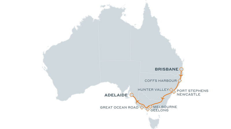 great southern brisbane to adel map